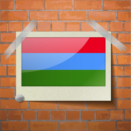 northwestern: Flags of Karelia scotch taped to a red brick wall. Vector