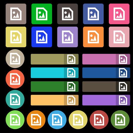 compression: File JPG  icon sign. Set from twenty seven multicolored flat buttons. Vector illustration Illustration