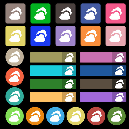 simplus: Cloud  icon sign. Set from twenty seven multicolored flat buttons. Vector illustration Illustration