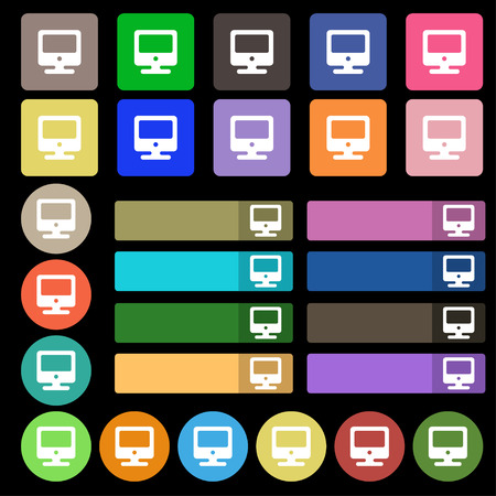 incrustation: monitor icon sign. Set from twenty seven multicolored flat buttons. Vector illustration