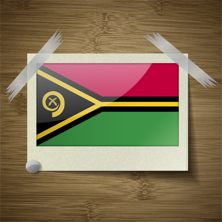 vanuatu: Flags of Vanuatu at frame on wooden texture. Vector illustration Stock Photo