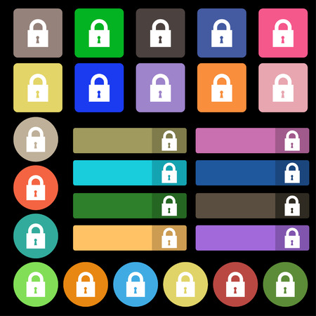 safest: closed lock icon sign. Set from twenty seven multicolored flat buttons. Vector illustration Stock Photo