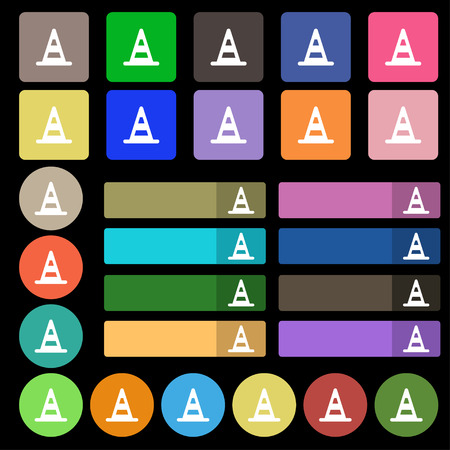 road cone  icon sign. Set from twenty seven multicolored flat buttons. Vector illustration