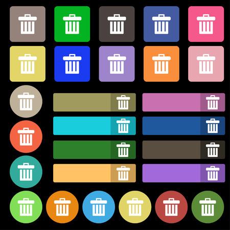 papelera de reciclaje: Papelera de reciclaje icono de signo. Fije de veintisiete botones planos multicolores. Ilustraci�n vectorial