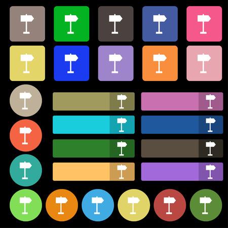 designator: Signpost icon sign. Set from twenty seven multicolored flat buttons. Vector illustration