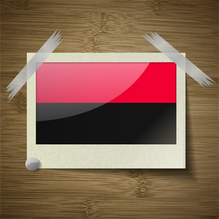 nationalists: Flags of UPA at frame on wooden texture. Vector illustration