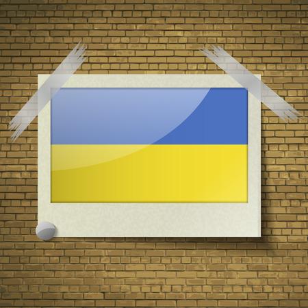 emblem of ukraine: Flags of Ukraine at frame on a brick background. Vector illustration