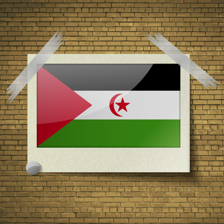 landlocked country: Flags of Western Sahara at frame on a brick background. Vector illustration Stock Photo