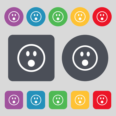 shaken: KIEV, UKRAINE -  June 21, 2015: Shocked Face Smiley  icon sign. A set of 12 colored buttons. Flat design. Vector illustration Illustration