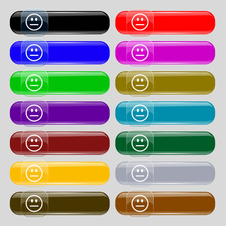 gloom: KIEV, UKRAINE -  June 21, 2015: Sad face, Sadness depression icon sign. Set from fourteen multi-colored glass buttons with place for text. Vector illustration