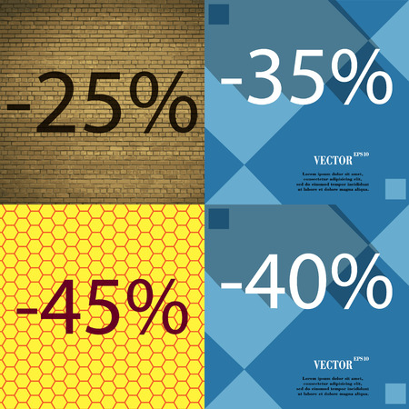 40 45: 35, 45, 40 icon. Set of percent discount on abstract backgrounds. Vector illustration