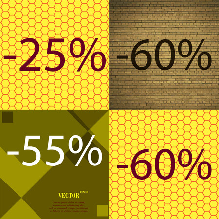 55 60: 60, 55 icon. Set of percent discount on abstract backgrounds. Vector illustration