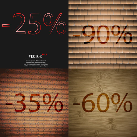 35: 80, 35, 60 icon. Set of percent discount on abstract backgrounds. Vector illustration Illustration