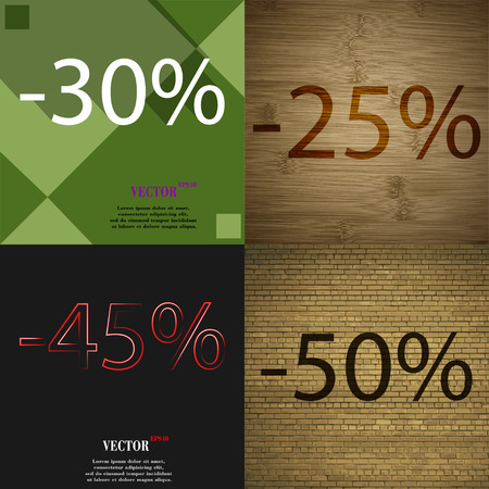 45 50: 25, 45, 50 icon. Set of percent discount on abstract backgrounds. Vector illustration Illustration
