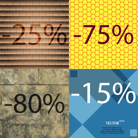 75 80: 75, 80, 15 icon. Set of percent discount on abstract backgrounds. Vector illustration
