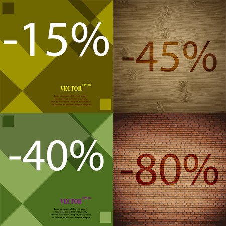 40 45: 45, 40, 80 icon. Set of percent discount on abstract backgrounds. Vector illustration