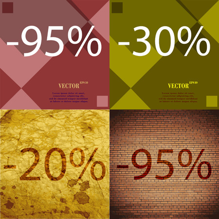 95: 30, 20, 95 icon. Set of percent discount on abstract backgrounds. Vector illustration Illustration