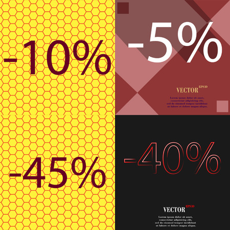 40 45: 5, 45, 40 icon. Set of percent discount on abstract backgrounds. Vector illustration