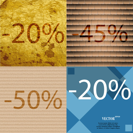 45 50: 45, 50, 20 icon. Set of percent discount on abstract backgrounds. Vector illustration