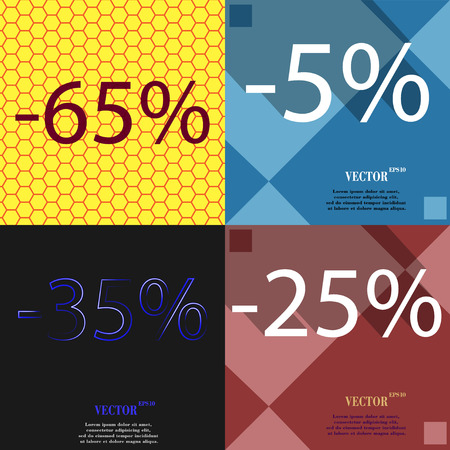 25 35: 5, 35, 25 icon. Set of percent discount on abstract backgrounds. Vector illustration
