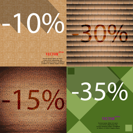 30 to 35: 30, 15, 35 icon. Set of percent discount on abstract backgrounds. Vector illustration
