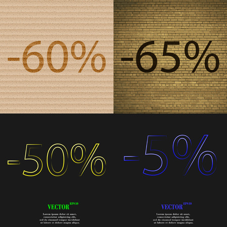 65: 65, 50, 5 icon. Set of percent discount on abstract backgrounds. Vector illustration