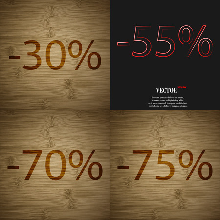 70 75: 55, 70, 75 icon. Set of percent discount on abstract backgrounds. Vector illustration