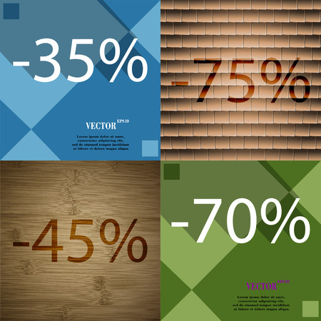 70 75: 75, 45, 70 icon. Set of percent discount on abstract backgrounds. Vector illustration