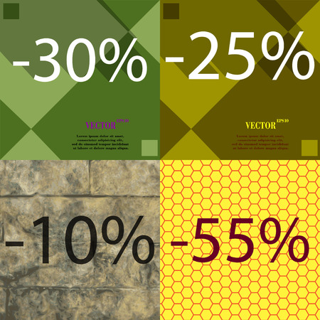 ten best: 25, 10, 55 icon. Set of percent discount on abstract backgrounds. Vector illustration