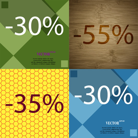 30 to 35: 55, 35, 30 icon. Set of percent discount on abstract backgrounds. Vector illustration