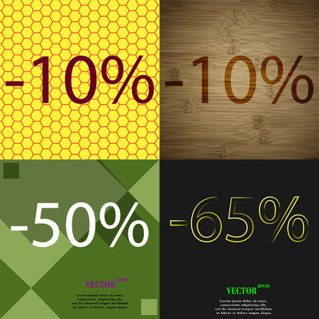 65: 10, 50, 65 icon. Set of percent discount on abstract backgrounds. Vector illustration Illustration