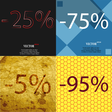 95: 75, 5, 95 icon. Set of percent discount on abstract backgrounds. Vector illustration
