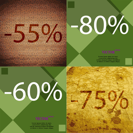 75 80: 80, 60, 75 icon. Set of percent discount on abstract backgrounds. Vector illustration