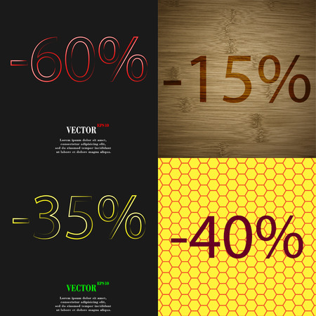 35 40: 15, 35, 40 icon. Set of percent discount on abstract backgrounds. Vector illustration Illustration