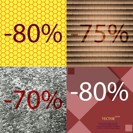 75 80: 75, 70, 80 icon. Set of percent discount on abstract backgrounds. Vector illustration