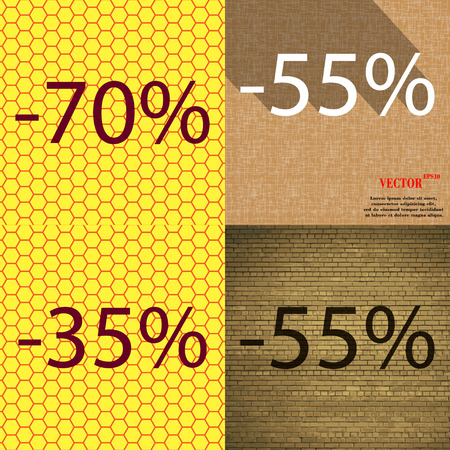 35: 55, 35, 55 icon. Set of percent discount on abstract backgrounds. Vector illustration