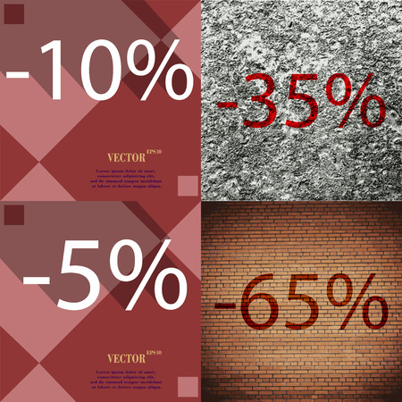 65: 35, 5, 65 icon. Set of percent discount on abstract backgrounds. Vector illustration