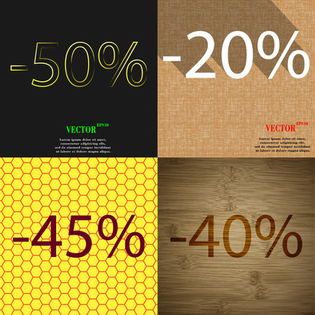 40 45: 20, 45, 40 icon. Set of percent discount on abstract backgrounds. Vector illustration