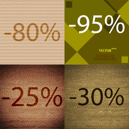 25 to 30: 95, 25, 30 icon. Set of percent discount on abstract backgrounds. Vector illustration Illustration