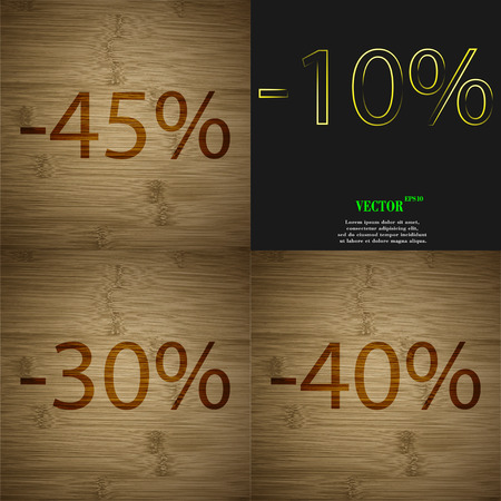30 to 40: 10, 30, 40 icon. Set of percent discount on abstract backgrounds. Vector illustration Illustration