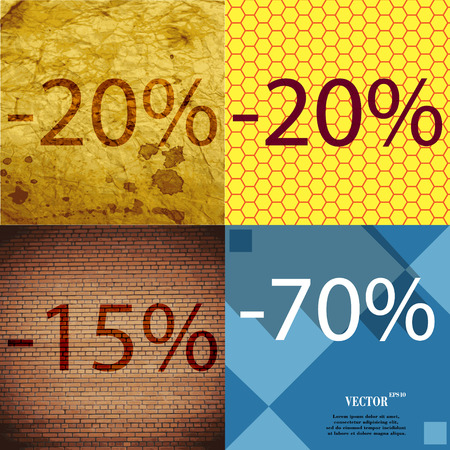 15 20: 20, 15, 70 icon. Set of percent discount on abstract backgrounds. Vector illustration Illustration