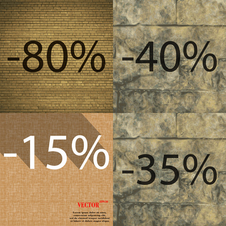 35 40: 40, 15, 35 icon. Set of percent discount on abstract backgrounds. Vector illustration