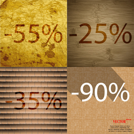 25 35: 25, 35, 15 icon. Set of percent discount on abstract backgrounds. Vector illustration Illustration