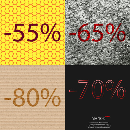 65 70: 65, 80, 70 icon. Set of percent discount on abstract backgrounds. Vector illustration