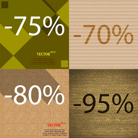 95: 70, 80, 95 icon. Set of percent discount on abstract backgrounds. Vector illustration Illustration