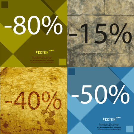 40 50: 15, 40, 50 icon. Set of percent discount on abstract backgrounds. Vector illustration Illustration