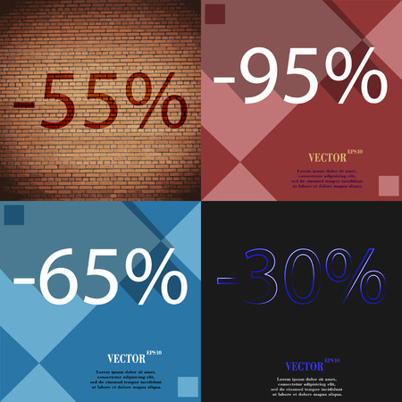65: 95, 65, 30,  icon. Set of percent discount on abstract backgrounds. Vector illustration