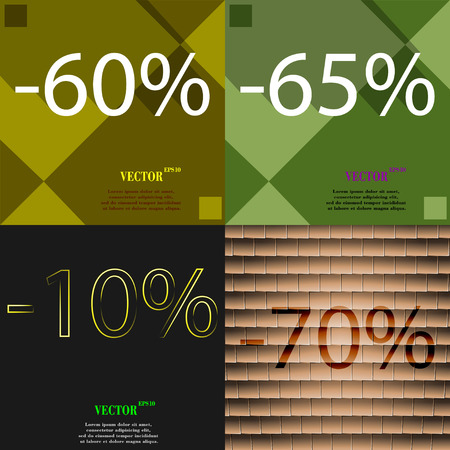 65: 65, 10, 70 icon. Set of percent discount on abstract backgrounds. Vector illustration Illustration