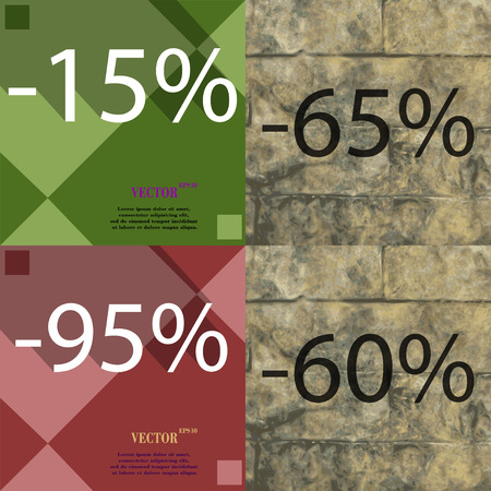 65: 65, 95, 60 icon. Set of percent discount on abstract backgrounds. Vector illustration