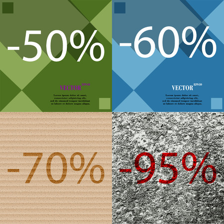 60 70: 60, 70, 95 icon. Set of percent discount on abstract backgrounds. Vector illustration